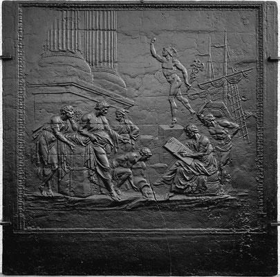 Inv.-Nr. 241   Allegorie des Handels, Kaminplatte 97 x 98 cm, Lothringen, Anfang 18. Jh.