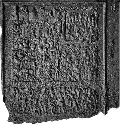 Inv.-Nr. 383   Die Passion Christi, Ofenplatte 71 x -- cm, Eisenschmitt (?), um 1580