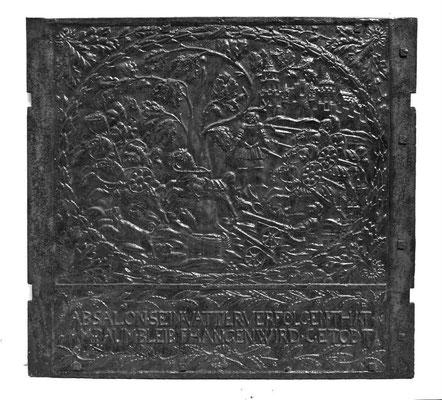 nv.-Nr. 175   Der Tod Absoloms, Ofenplatte 80 x 85 cm, Saarland/Südpfalz, 2. H. 17. Jh.
