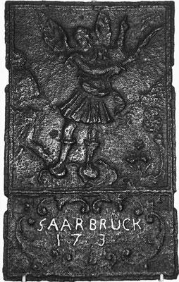 Inv.-Nr. 156   Vertreibung aus dem Paradies, Ofenplatte 35 x 59 cm, Saarland, dat. 173_