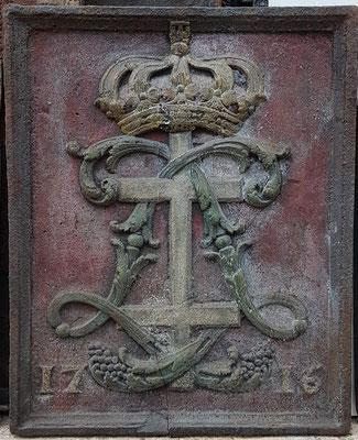 Inv.Nr. 478  Wappen Herzogtum Lothringen, Kaminplatte xx x xx cm, Lothringen, dat. 1716