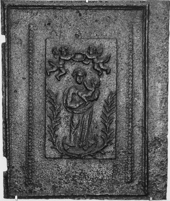 Nr. 132   Marienkrönung, Ofenplatte 60 x 73 cm, Elsaß, Anfang 18. Jh.