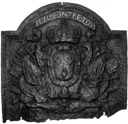 Inv.-Nr. 37   Wappen Frankreich (Ludwig XIV.), gegossen anlässlich der Einnahme der Festung Maastrich im Holländischen Krieg (1672-1678), Kaminplatte 56 x 50 cm, Lothringen, dat. 1673