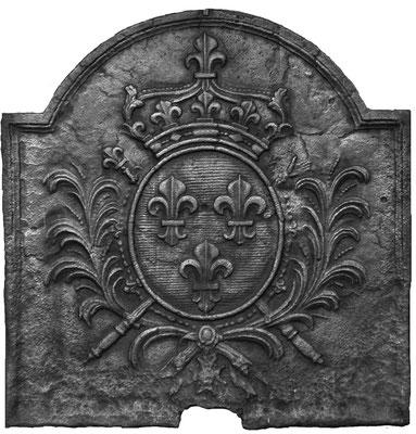 Inv.-Nr. 110   Wappen Frankreich (Ludwig XIV.),  Kaminplatte 64 x 66 cm, Lothringen, um 1680