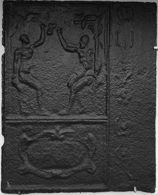 Inv.-Nr. 152   Adam und Eva, Ofenplatte 46 x 58 cm, Lothringen (?), 2. H. 17. Jh.