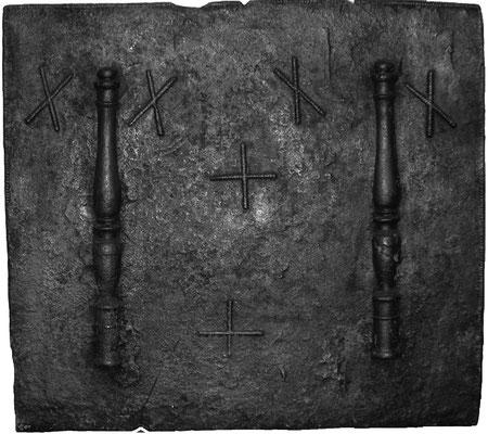 Inv.-Nr. 273   Säulen der Standhaftigkeit, Kaminplatte 104 x 96 cm, Lothringen/Ardennen, 16. Jh.