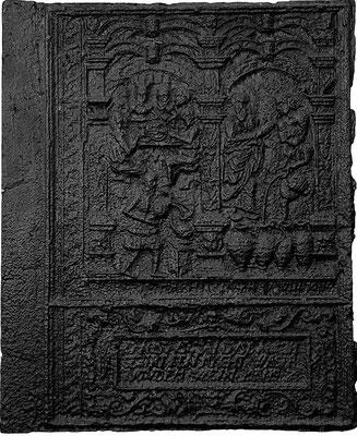 Inv.-Nr. 223   Hochzeit zu Kana, Ofenplatte 58 x 70 cm, Lahngebiet Kraftsolms (?), um 1700