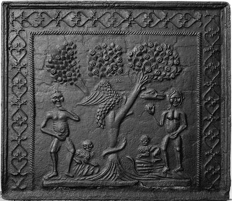 Inv.-Nr. 143   Adam und Eva, Kaminplatte 75 x 64 cm, Cousance, 1. H. 16. Jh.