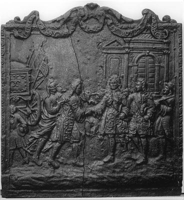 Inv.-Nr. 337   Abschied spanischer und französischer König,  Kaminplatte 70 x 66 cm, Lothringen, ca. 1700