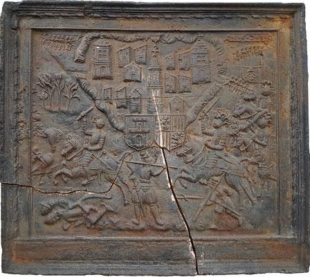 Inv.-Nr. 331   Belagerung von Thionville durch den Kardinal Karl von Lothringen-Guise im Jahre 1558, Kaminplatte 120 x 108 cm, dat. 1603
