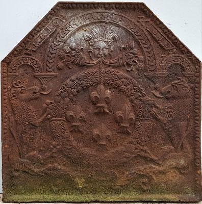 Wappen Frankreich (Heinrich IV.),  Kaminplatte 76 x 73 cm, Lothringen, dat. 1610