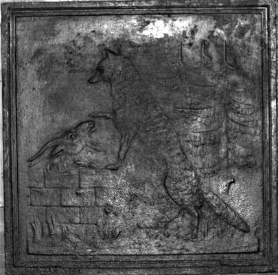 Inv.-Nr. 347   Der Fuchs und der Bock, Kaminplatte 50 x 50 cm, Lothringen, 18./19. Jh.