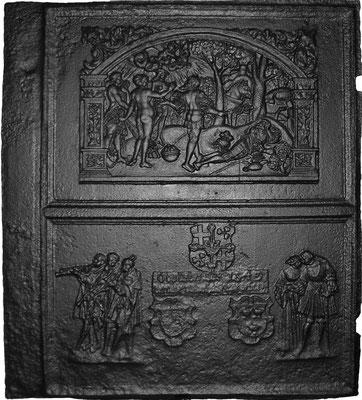 Inv.-Nr. 21   Wappenkomposition W. Schutzbar - ?, Das Urteil des Paris, Ofenplatte 107 x 121 cm, rechtsrheinische Hütte (?), dat. 1549