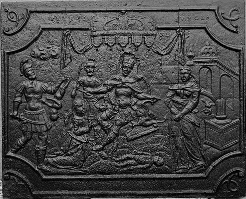 Inv.-Nr. 180   Das Urteil Salomons, Kaminplatte 96 x 80 cm, Saarland/Lothringen, dat. 1784