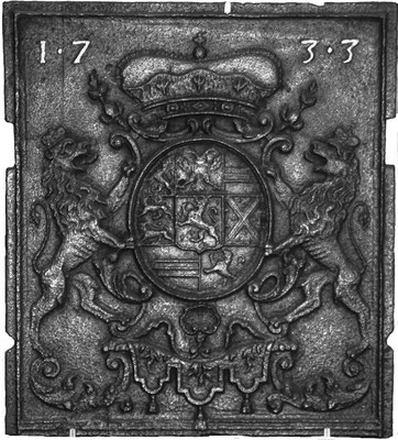 Inv.-Nr. 128   Wappen Nassau-Saarbrücken,  Ofenplatte 44 x 49 cm, Saarland, dat. 1733