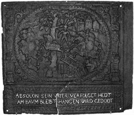 Inv.-Nr. 172   Der Tod des Absalom, Ofenplatte 95 x 82 cm, Pfalz, 2. H. 17. Jh.