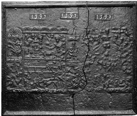 Inv.-Nr. 231   Der Reiche und der Arme, Kaminplatte 103 x 90 cm, Eisenschmitt, dat. 1597