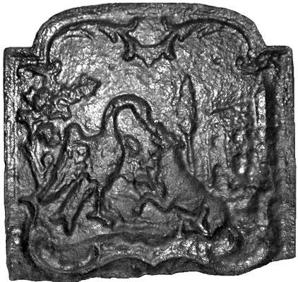 Inv.-Nr. 346   Der Wolf und der Storch, Kaminplatte xx x xx cm, Lothringen, 18./19. Jh.