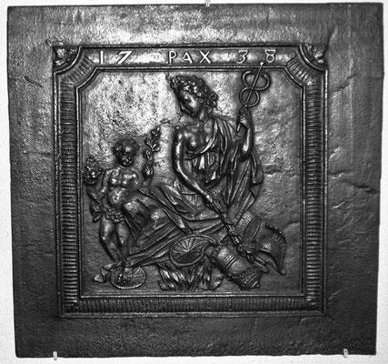 Inv.-Nr. 333   Wiener Frieden,  Kaminplatte 65 x 61 cm, Saarland, dat. 1738