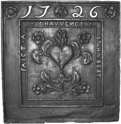 Inv.-Nr. 258   Allegorie der Liebe, Kaminplatte 73 x 76 cm, Hütte Chauvency-Saint-Hubert, dat. 1726