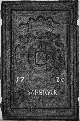 Inv.-Nr. 59   Wappen Nassau-Saarbrücken,  Ofenplatte 43 x 66 cm, Saarland, dat. 1720
