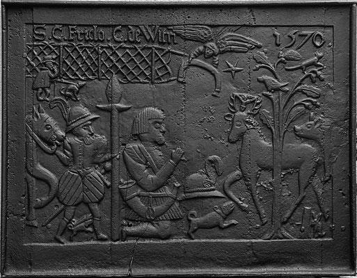 Inv.-Nr. 136   Hubertuslegende,  Kaminplatte 102 x 80 cm, nördliche Ardennen, Wallonie, dat. 1570