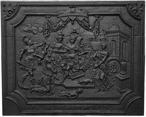 Inv.-Nr. 177   Das Urteil Salomons, Kaminplatte 108 x 87 cm, Geislautern, dat. 1737