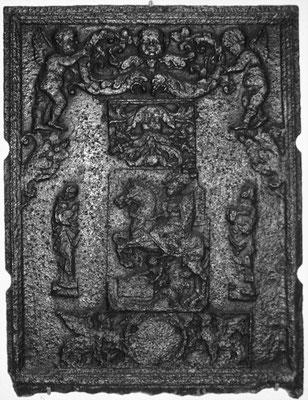Inv.-Nr. 133   Hl. St. Martin, Ofenplatte 64 x 86 cm, Saarland (?), 1. Drittel. 16. Jh.