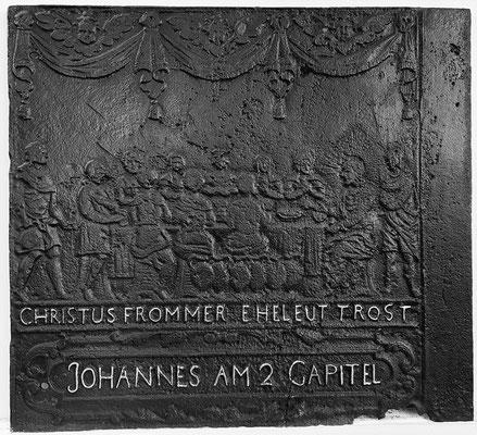 Inv.-Nr. 207   Hochzeit zu Kana, Ofenplatte 75 x 67 cm, Saarland, 1. H. 18. Jh.