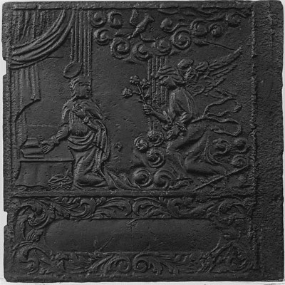 Inv.-Nr. 194   Mariä Verkündigung, Ofenplatte 51 x 67 cm, Altleiningen, um 1740