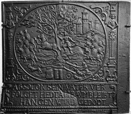 Inv.-Nr. 173   Der Tod des Absalom, Ofenplatte 96 x 83 cm, Pfalz, 2. H. 17. Jh.