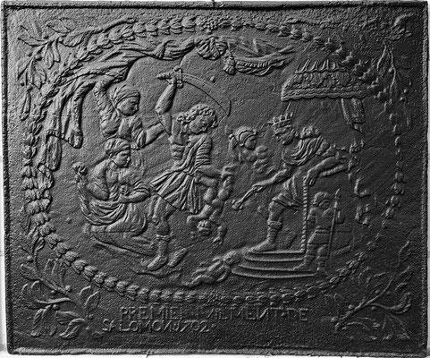 Inv.-Nr. 182   Das Urteil Salomons, Kaminplatte 108 x 91 cm, Eisenschmitt/Weilerbach (?), dat. 1702