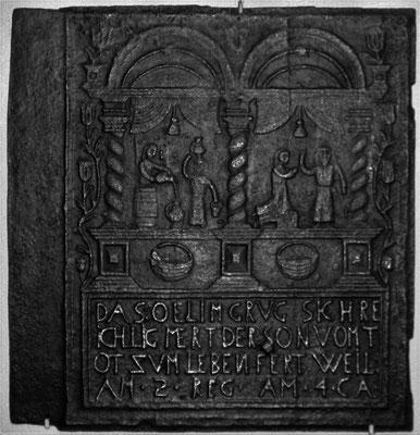 Inv.-Nr. 186   Das Ölwunder des Elisäus, Ofenplatte 60 x 61 cm, Saarland, um 1740