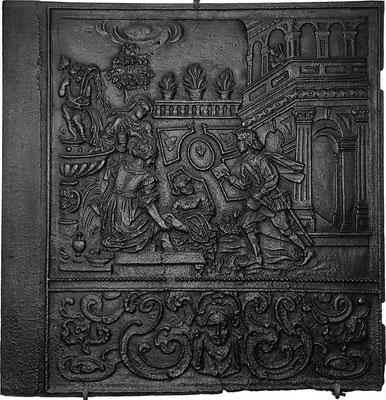 Inv.-Nr. 171   David begehrt Batseba, Ofenplatte 91 x 93 cm, Südeifel (?), 2. H. 17. Jh