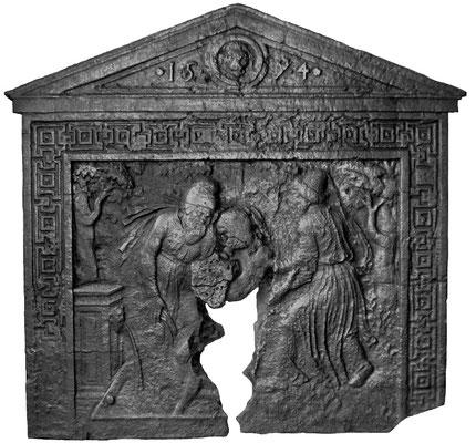 Inv.-Nr. 370   Susanna und die beiden Alten, Kaminplatte 107 x 102 cm, Wallonie, dat. 1594