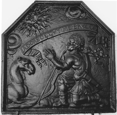 Inv.-Nr. 338   Freiheitskämpfer der Franche-Comté, Kaminplatte 70 x 70 cm Franche-Comté, Ende 17. Jh.