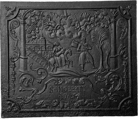 Inv.-Nr. 205   Flucht nach Ägypten, Kaminplatte 91 x 76 cm, St. Ingbert, dat. 1734
