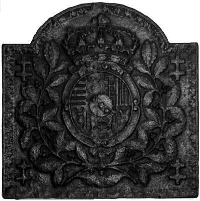 Inv.-Nr. 75   Wappen Herzogtum Lothringen (Leopold I.),  Kaminplatte 70 x 70 cm, Lothringen, um 1700