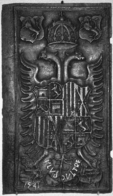 Inv.-Nr. 5   Wappen Spanien Karl V, Ofenplatte 47 x 83 cm, Südeifel (?), dat. 1541
