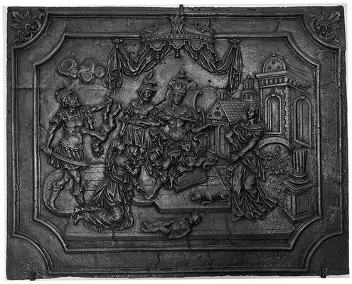 Inv.-Nr. 178   Das Urteil Salomons, Kaminplatte 107 x 84 cm, Saarland, 1. H. 18. Jh.