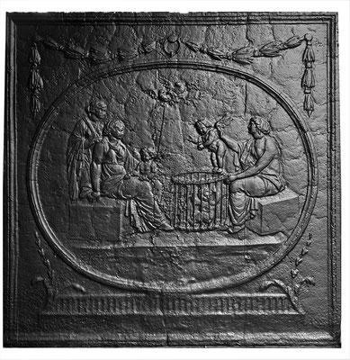Inv.-Nr. 285   Verteilung der Amoretten, Kaminplatte 96 x 96 cm, Lothringen, 18./19. Jh.