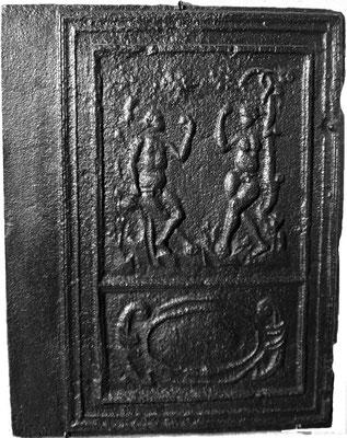 Inv.-Nr. 151   Adam und Eva, Ofenplatte  54 x 71 cm, Eisenschmitt/Weilerbach (?), ab 1683