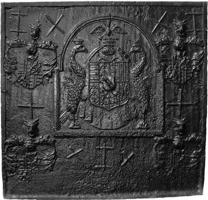 Inv.-Nr. 24   Wappenkomposition Lothringen Karl III. - ?, Kaminplatte 99 x 96 cm, Lothringen 2. H. 16. Jh.