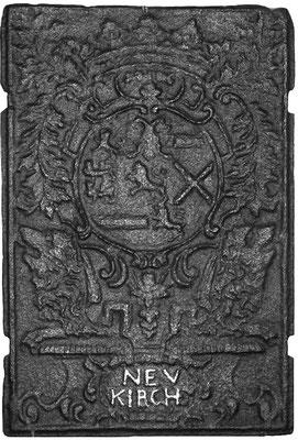 Inv.-Nr. 66   Wappen Nassau-Saarbrücken,  Kaminplatte 42 x 62, Neunkirchen, dat. 1709