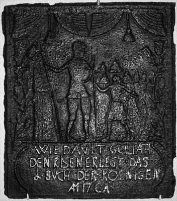Inv.Nr. 170   David und Goliath, Ofenplatte 47 x 57 cm, Saarland, um 1740
