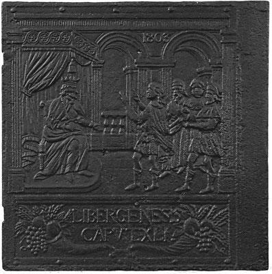 Inv.-Nr. 388   Josef deutet den Traum des Pharao, Ofenplatte 60 x 61 cm, Zinsweiler, dat. 1803