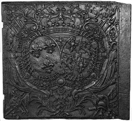 Inv.-Nr. 85   Heiratswappen Ludwig XV. - Maria Leszczyński,  Ofenplatte 80 x 74 cm, Zinsweiler, 1. H. d. 18. Jh.
