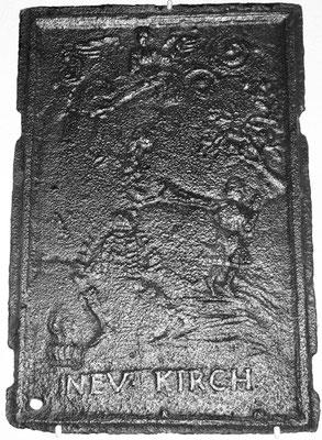 Inv.-Nr. 165   Opferung Isaaks, Ofenplatte 39 x 57 cm, Neunkirchen, um 1730