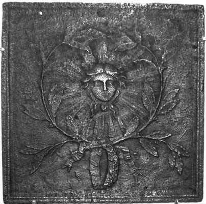 nv.-Nr. 263   Allegorie Sonnenkönig Ludwig XIV.  Kaminplatte 48 x 47 cm, Lothringen, um 1700