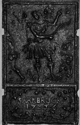 Inv.-Nr. 154   Vertreibung aus dem Paradies, Ofenplatte 35 x 56, Saarland, dat. 1736